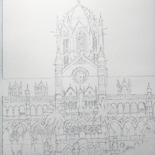Almost finished with this pencil drawing of mumbais cst some of the details will be