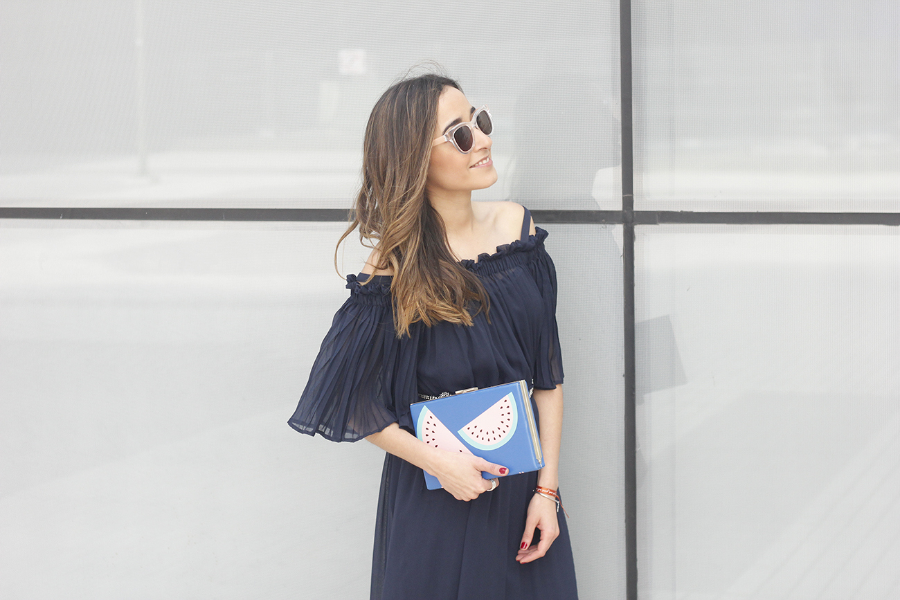 A Midi Dress With Pleated Ruffles heels clutch accessories sunnies fashion outfit summer14