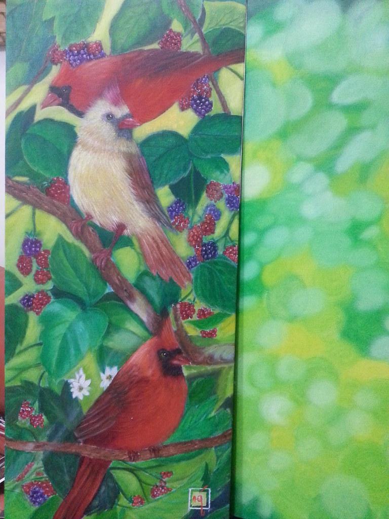 Birds Oil Painting On Canvas 25x65 Cm Nur Hayati Flickr