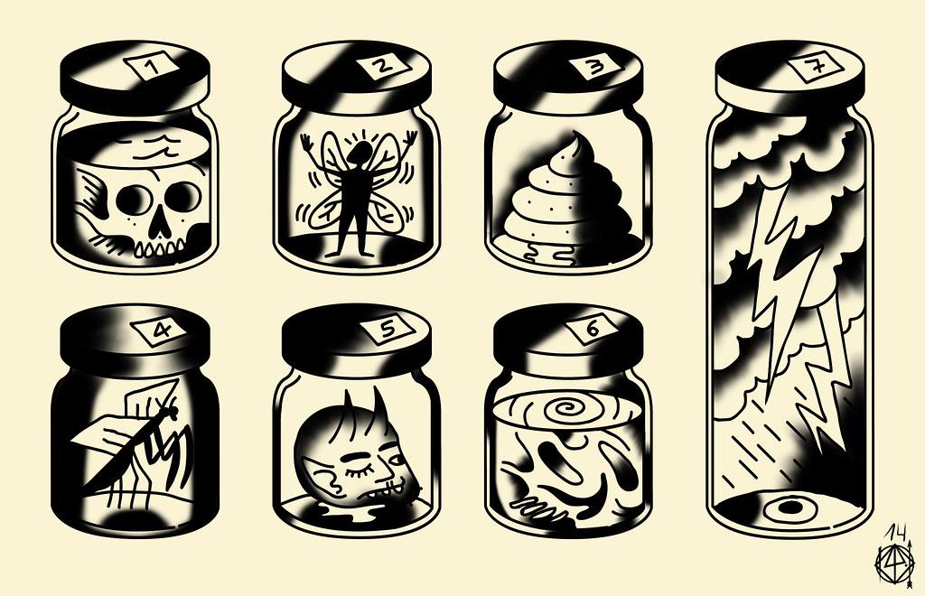 Tattoo Flash 01 Digital The Jar Of Bastian Klak Flickr
