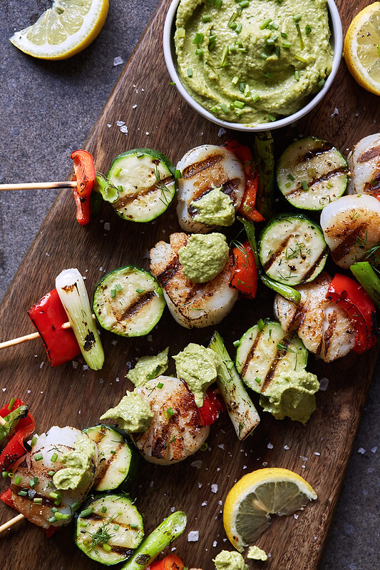 Grilled Scallop and Veggie Skewers with Green Tahini