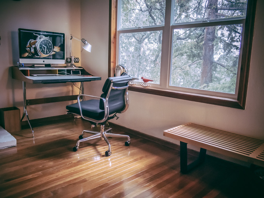 ... Updated To A MidCentury Modern Swag Office Set Up | By Hhdoan