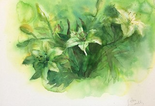 Watercolour painting of lilies (green) by Ako Lamble | by Northshore School of Art