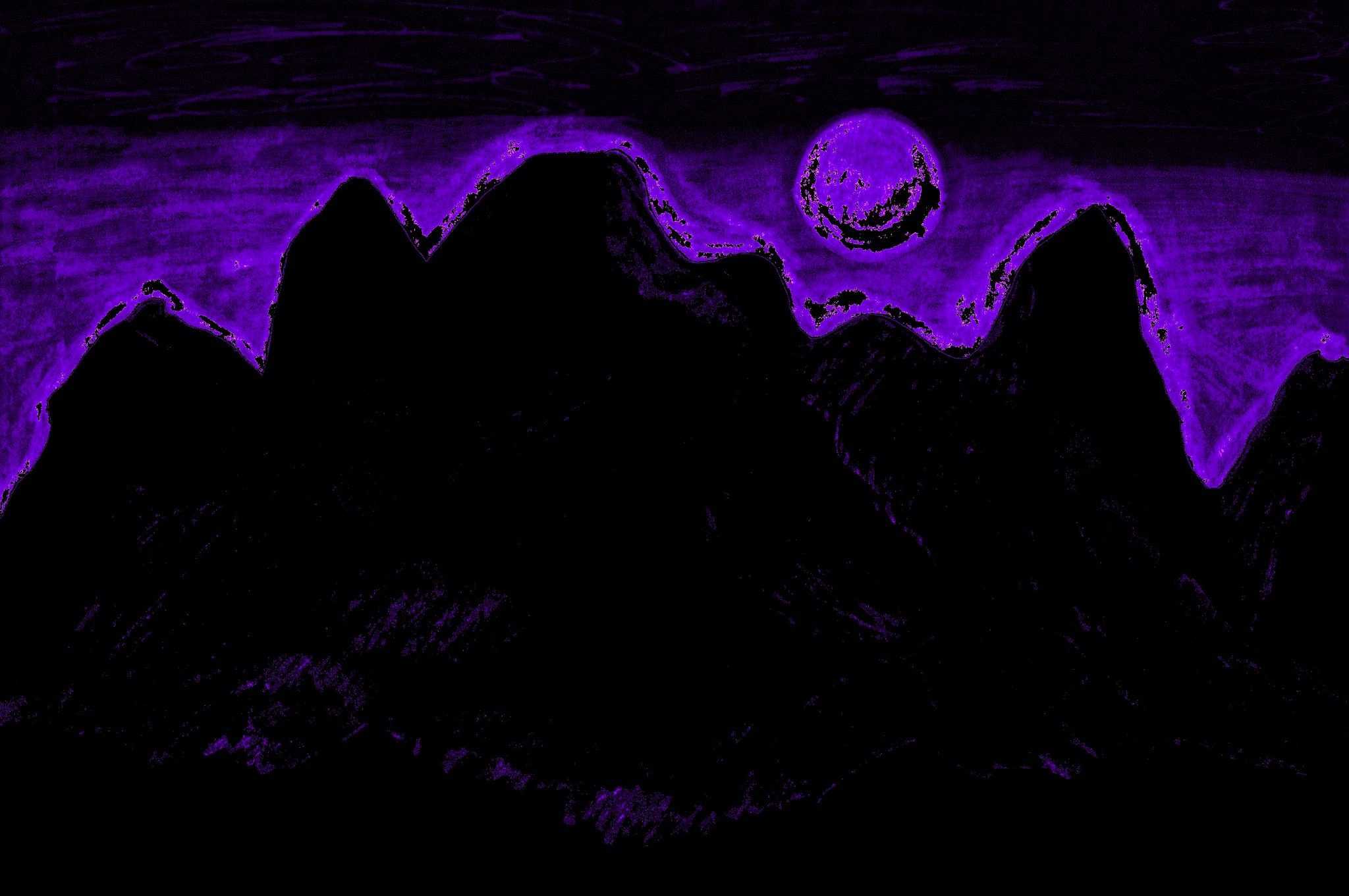 Moon Glow Over The Cascades In Purple 2  By Sherrie D. Larch