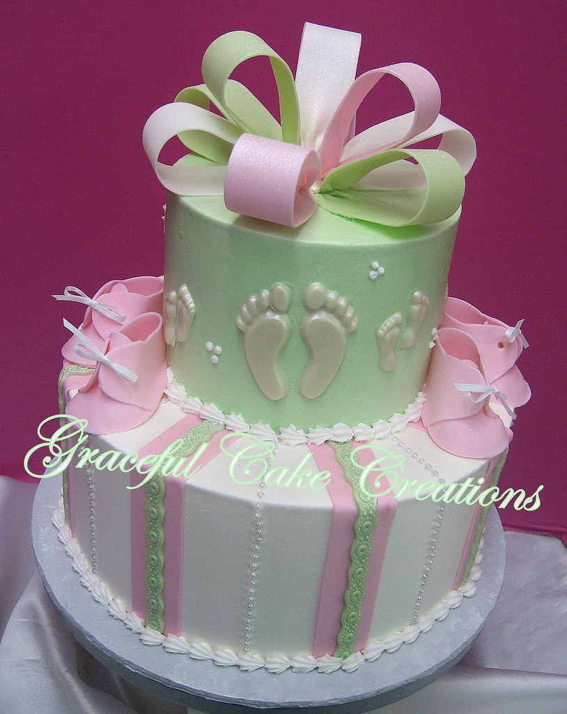Pink Mint Green And White Baby Shower Cake With Booties A Flickr