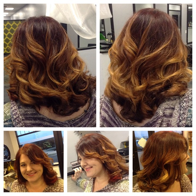 Destiny rocked out this deep auburn balayage with bright orange Pravana  pieces underneath and some soft