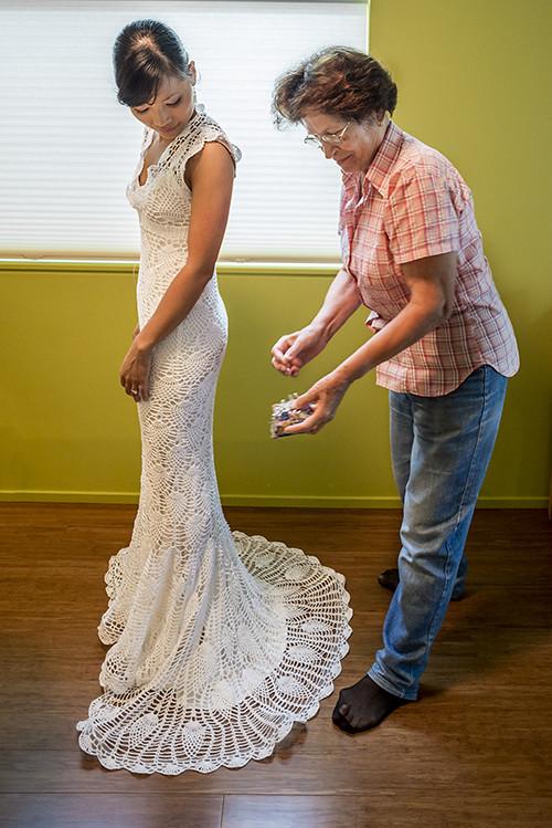 Crochet Wedding Dress | My husband\'s great aunt helping me w… | Flickr