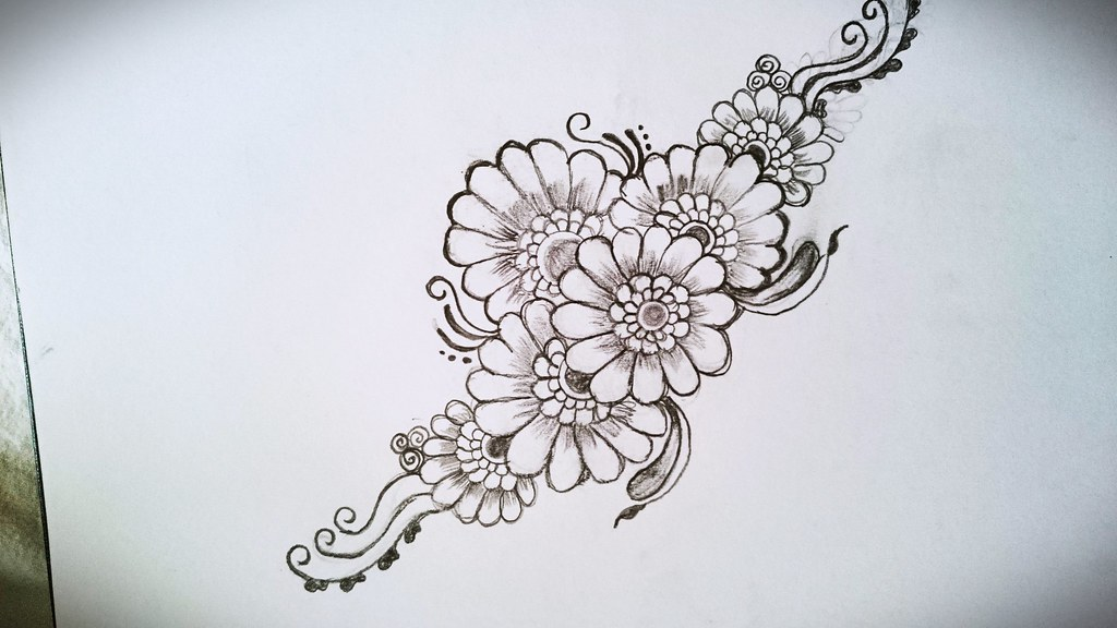 Henna Flower Inspiration Own Design Henna Drawing Flo Flickr