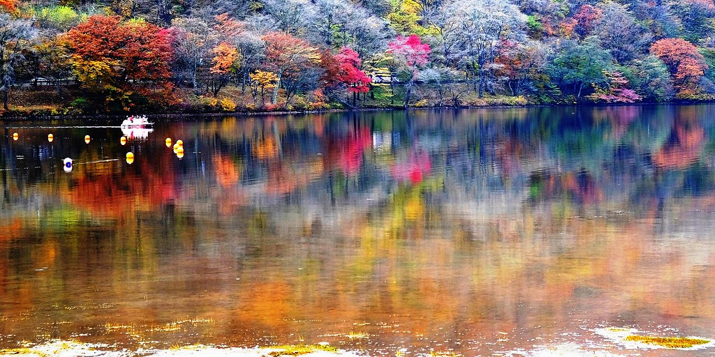 autumn colours on the water the lake is called haruna ko flickr