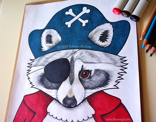 Raccoon Pirate Coloring Page Art By Thaneeya McArdle