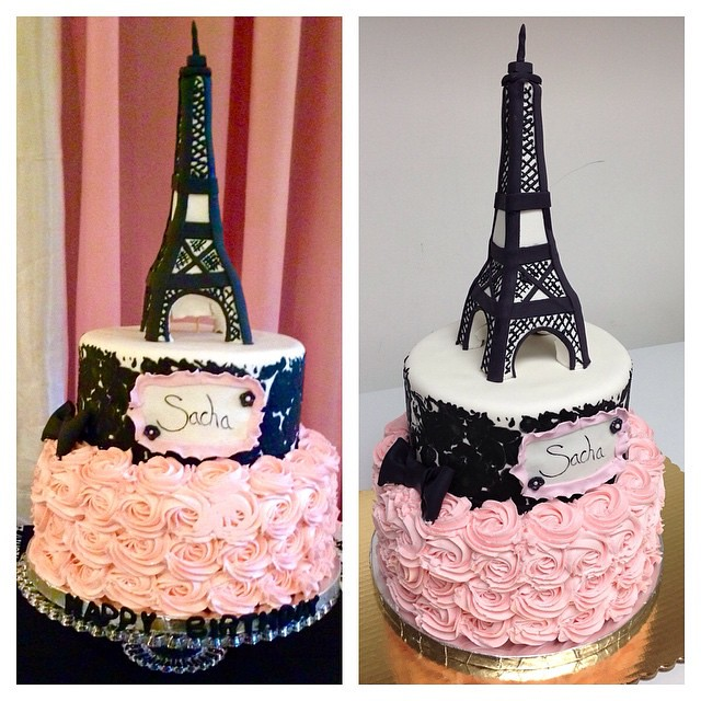 Parisian Themed Birthday Cake Paris Eiffel Tower Cu Flickr