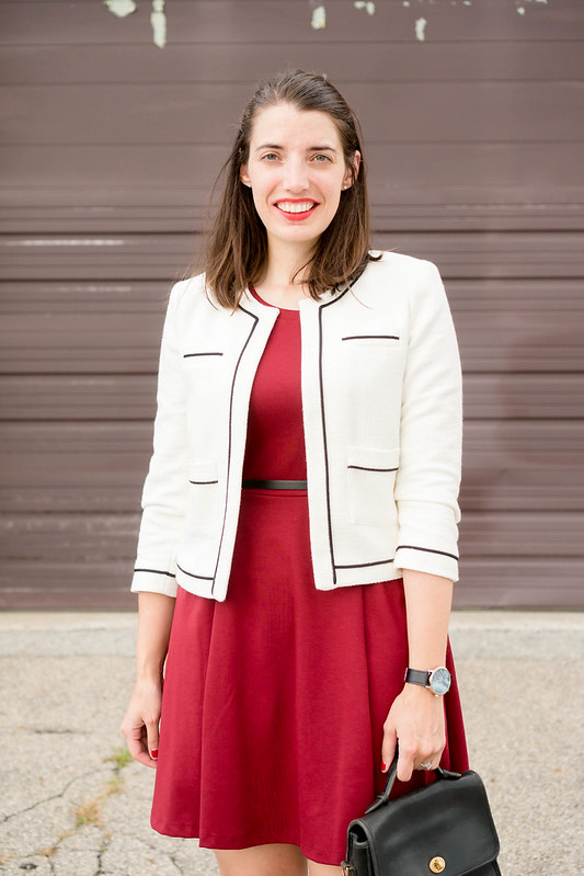 maroon fit and flare dress + white blazer + black heeled sandals + black skinny belt + summer work outfit | Style On Target blog