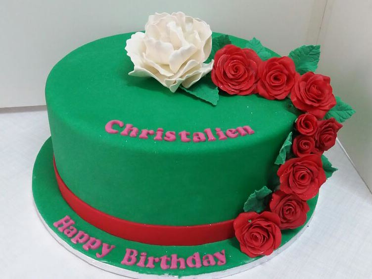 Green with red roses and white flower birthday cake flickr green with red roses and white flower birthday cake by willi probst bakery mightylinksfo