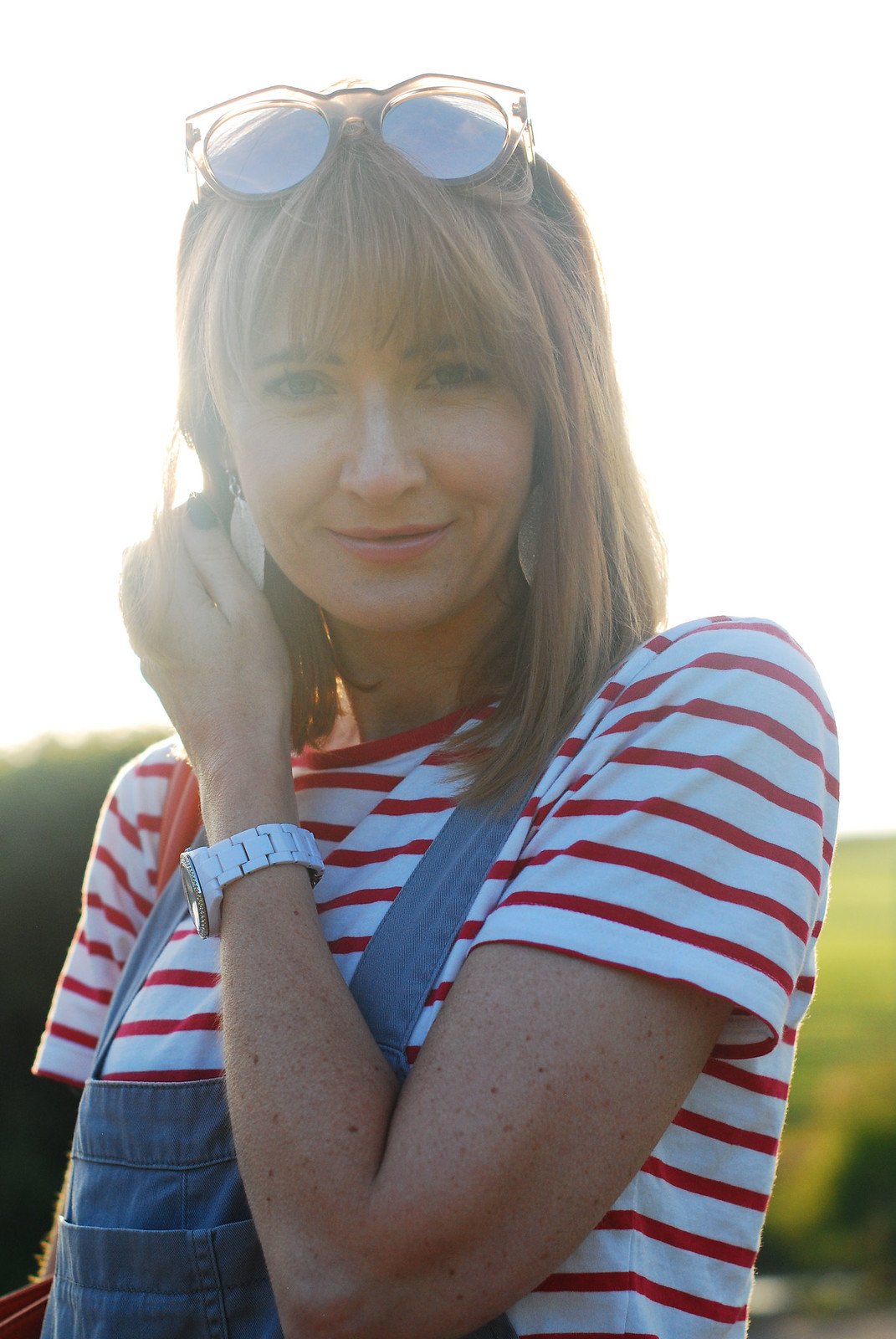 Casual spring summer look: Red Breton stripe t-shirt, grey dungarees | Not Dressed As Lamb