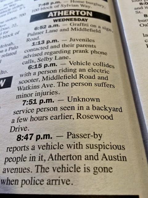 Atherton police blotter