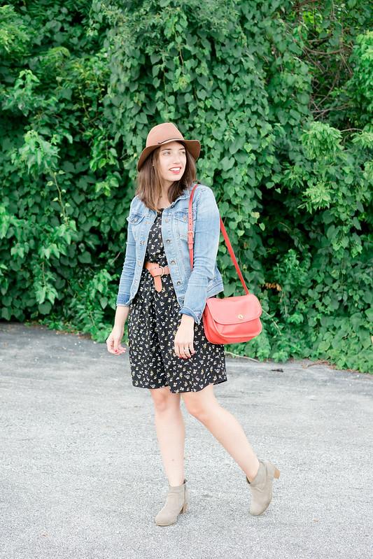 black floral print Old Navy dress + denim jacket + brown belt and hat + Target ankle boots | Style On Target