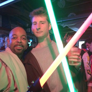 Mace Windu & Lebowski Kenobi, Hero shot. #Halloween #Georgetown @robominister @scifipartyline #jedi #starwars | by scifipartyline