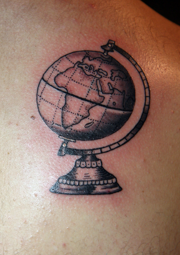Blue and yellow male globe tattoos realistic mens shaded globe world globe tattoo by christopher ian henry tattooer gumiabroncs Gallery