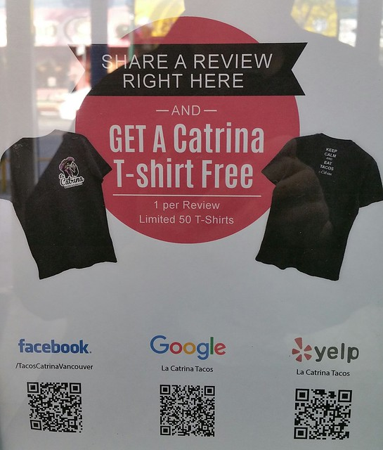 2016-Jun-21 La Catrina - free t-shirt promotion