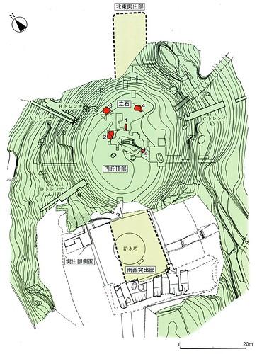 楯築弥生墳丘墓の測量図