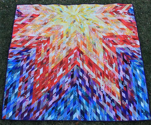 Really Scrappy Lone Star Rainbow Quilt | by DanaK~WaterPenny