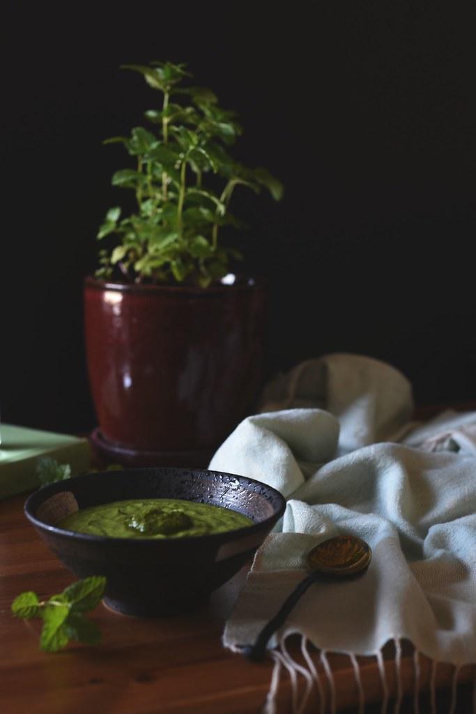 summer greens vichyssoise + spicy mint sauce