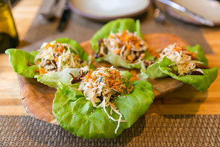 "Kentuckyaki Pig's Ear Lettuce Wraps, Cabbage and Red Onion ""Slaw,"" - Toasted Peanuts, Cucumber-Lime Dressing 