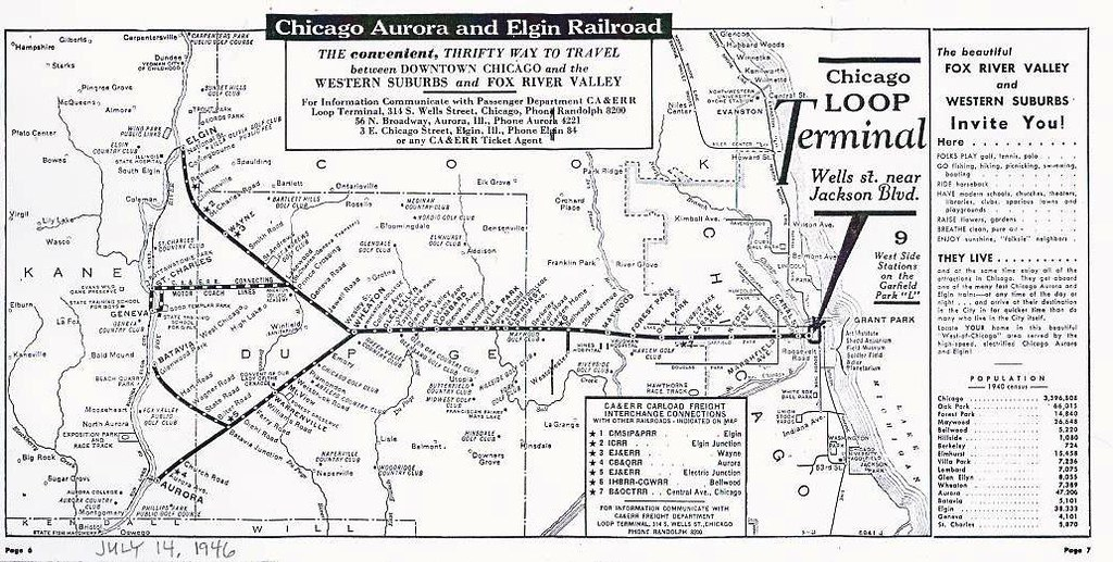 Chicago Aurora and Elgin Railroad System Map 1946 Flickr