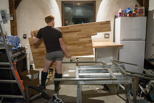 Tyler Installing Counter Top in Off-Grid Cottage | by goingslowly
