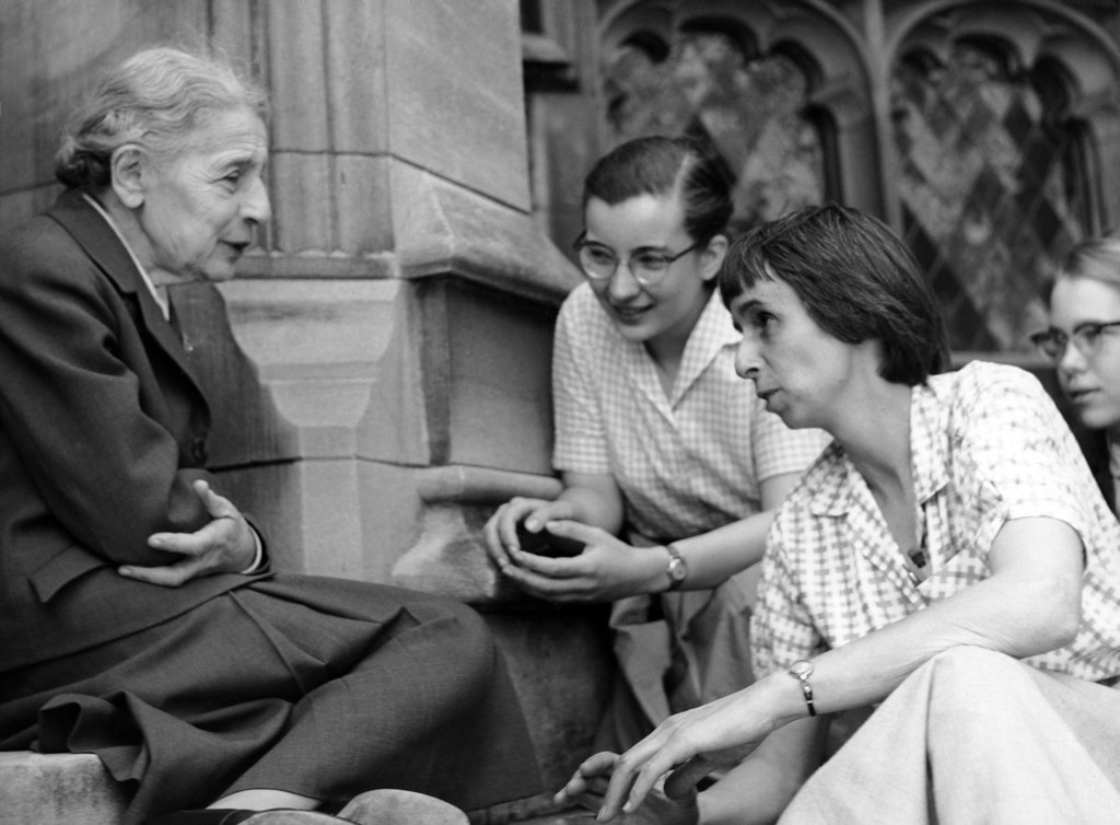 Chemist Lise Meitner with students