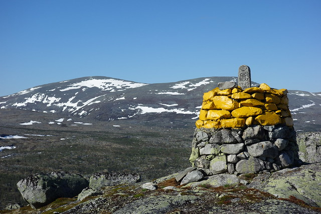 Border cairn nr 144 the northern most point of the county Dalarna in Sweden