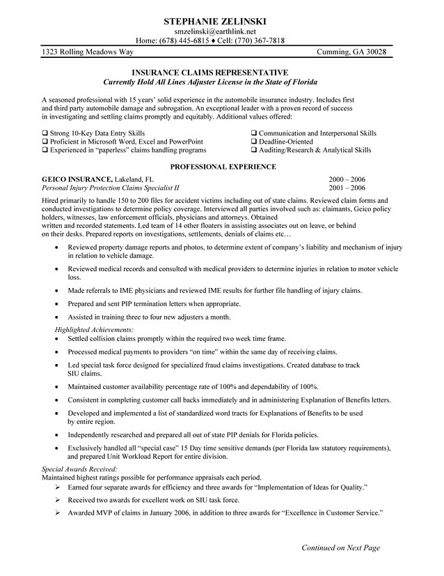insurance claims representative resume sample insurance cl flickr