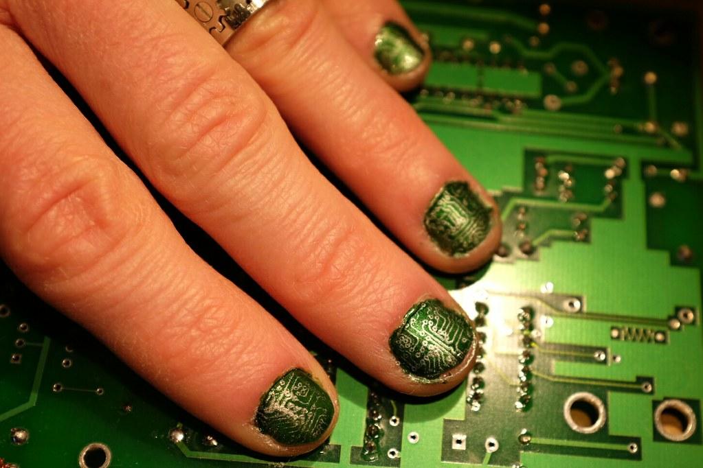 Pcb Nail Art Nail Art Make Along At Nyc Resistor More Inf Flickr
