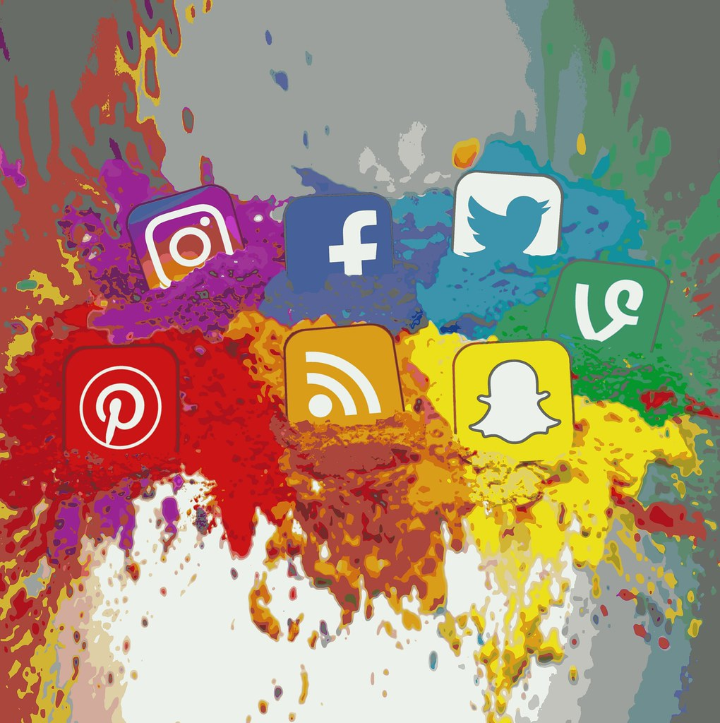 Social Media Icons Color Splash Montage