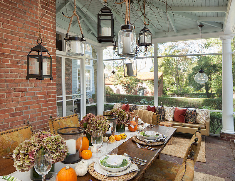 Fall Sunroom Dining Room Tablescape Pumpkins