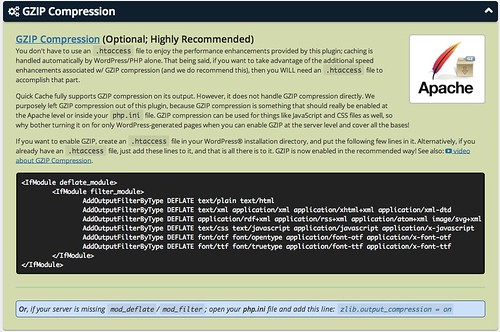 """GZIP compression explained in """"Quick Cache"""" WordPress plug… - Flickr"""