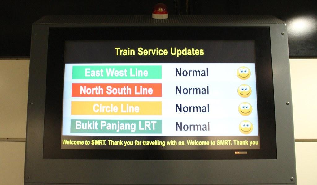 Singapore MRT: SMRT status screen