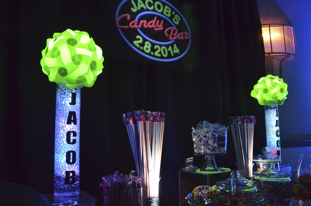 neon themed bar mitzvah candy buffet 1 cool neon themed ba flickr rh flickr com neon candy table neon candy table