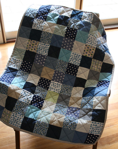 blue and green baby quilt front | by suzy @ floating world