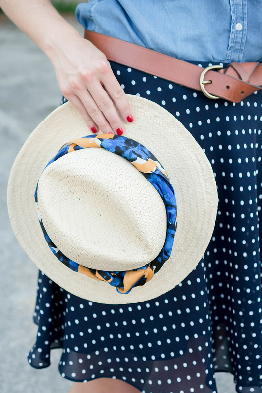 chambray blouse + navy and white polka dot skirt + brown belt + white bucket bag + beige ballet flats | Style On Target