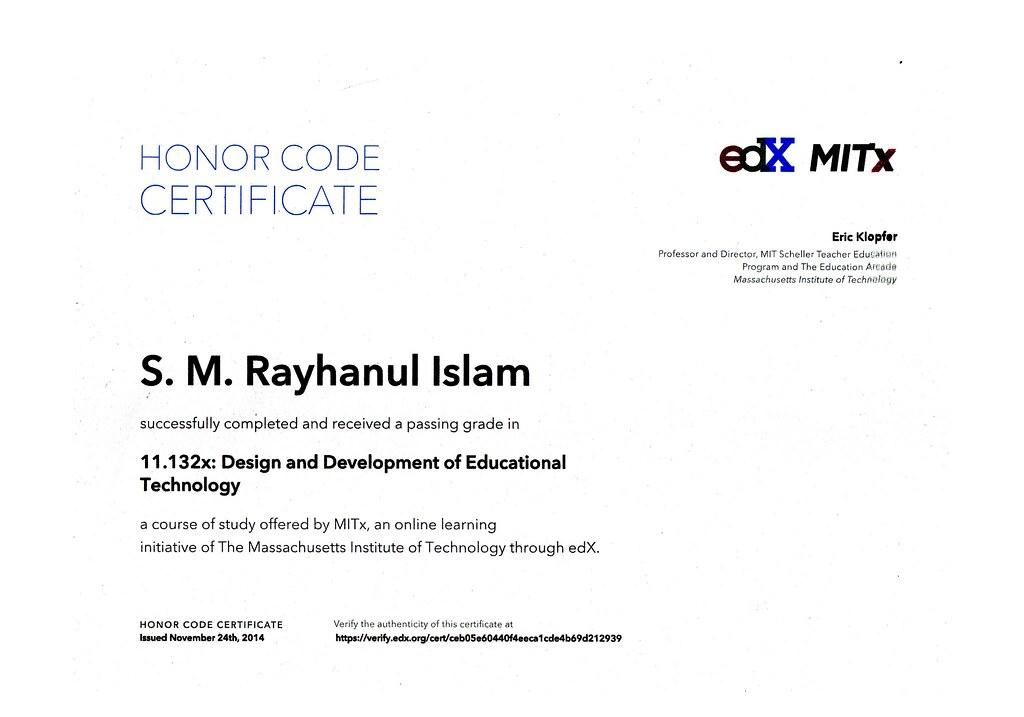 Honor Code Certificate-MIT | S. M. Rayhanul Islam | Flickr