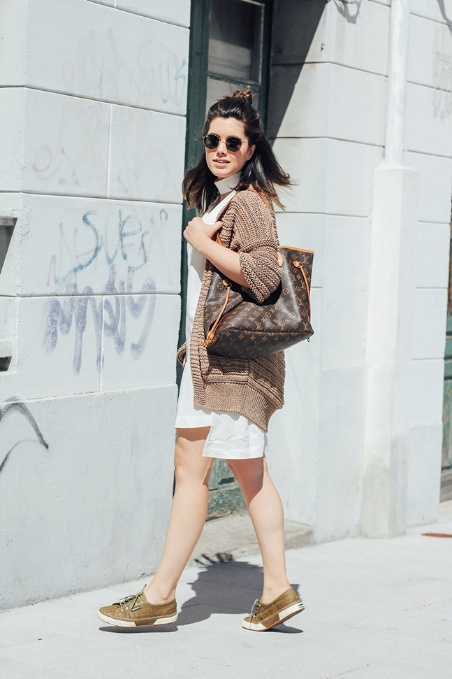 white dress ties&heels cardigan mango green rafia superga louis vuitton neverfull mm look
