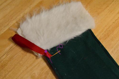 Step 9: Pin & Sew Ribbon to Top Edge