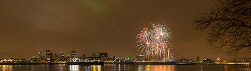 panoramic montreal skyline fireworks | by Eva Blue