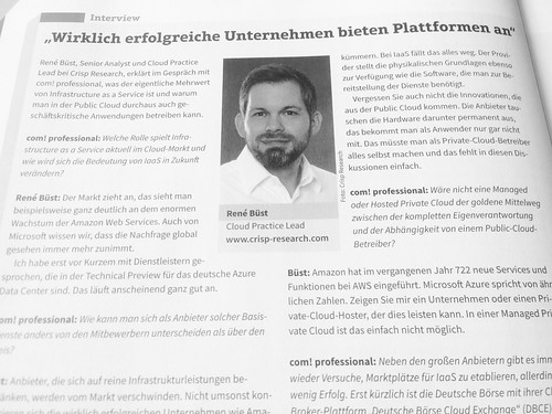 Interview in der aktuellen Ausgabe der com! Professional zum Thema Infrastructure-as-a-Service. | by ReneBuest