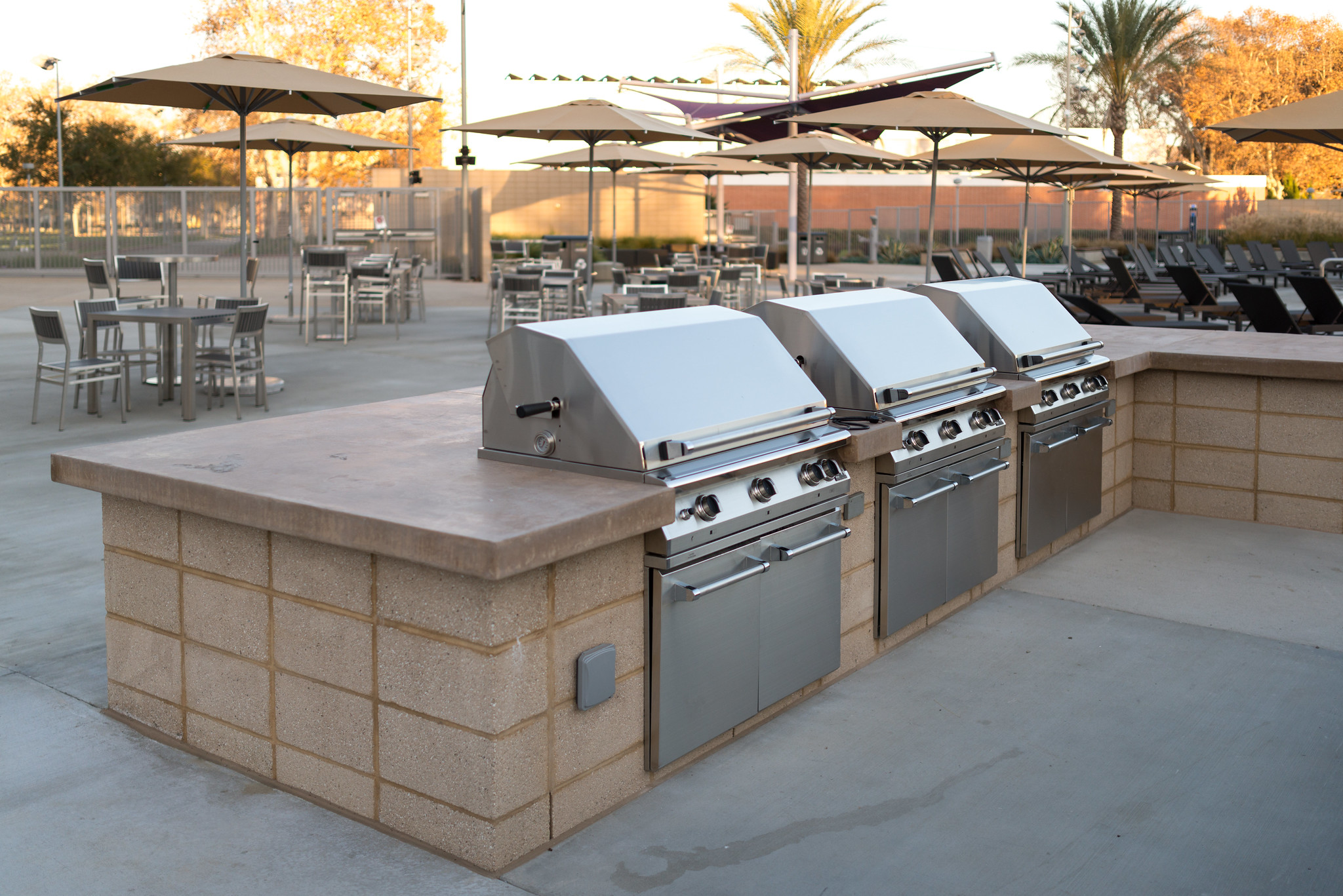 Grill with a view of the BRIC pool