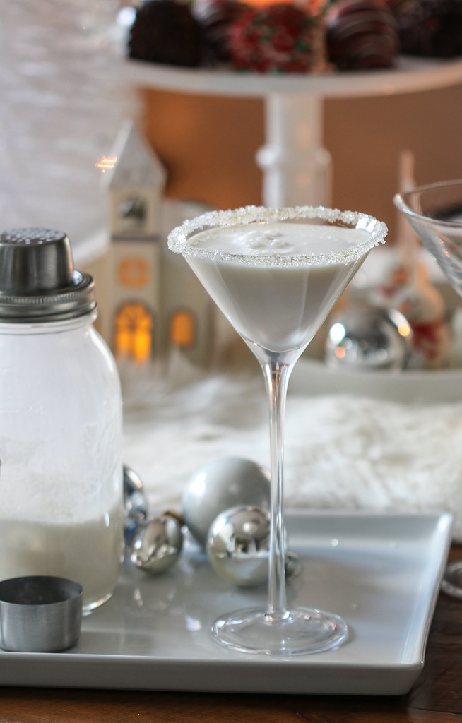 white christmas martini made from vanilla vodka white chocolate liqueur and half and half on - White Christmas Martini