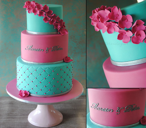 aqua blue and red wedding cakes 3 tiered pink amp turquoise wedding cake 3 st 246 ckige pink 10805