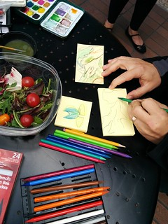 mi drawing today (trippy leaf), and a yummy watercolor salad by Lydia y texture monster by Tom. | by meligrosa