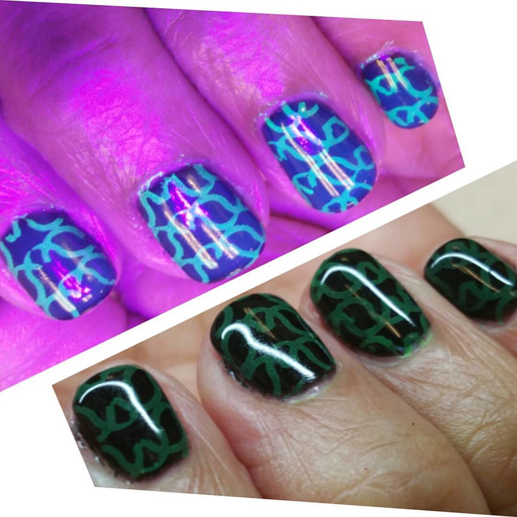 Club nails, glow under black light, Young Nails Mani Q, an… | Flickr